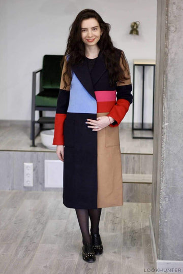 Colorblock Double Breasted Midi Coat - LOOKHUNTER