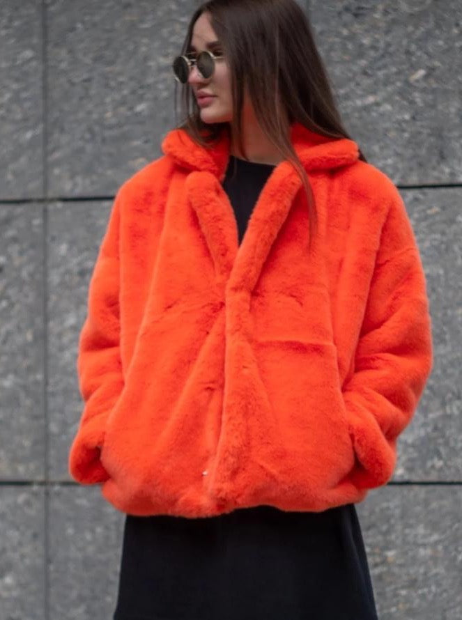 Cropped orange mink jacket