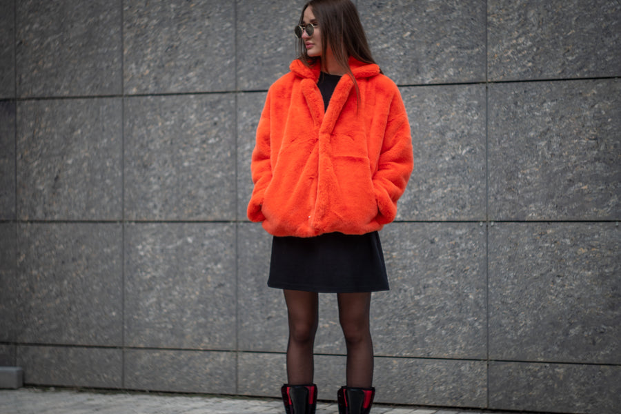 Cropped orange mink jacket - LOOKHUNTER
