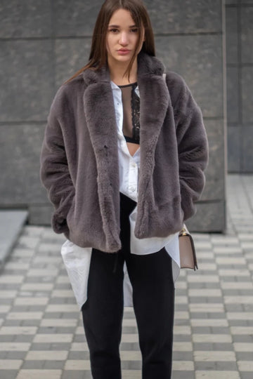 Cropped gray mink jacket