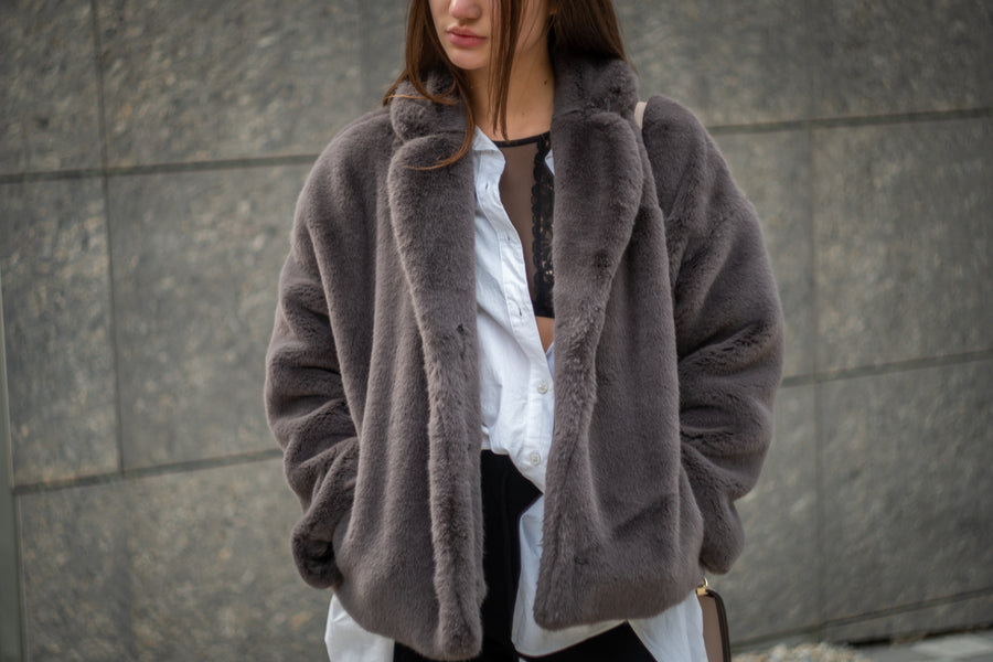 Cropped gray mink jacket - LOOKHUNTER