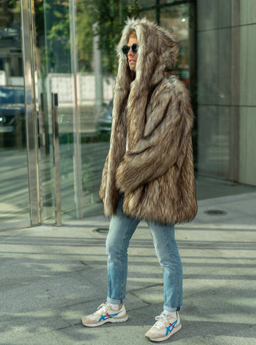 Hooded Faux Coyote Fur Jacket