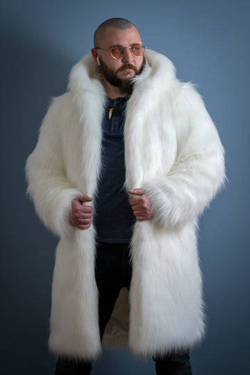 White wolf faux fur coat - LOOKHUNTER