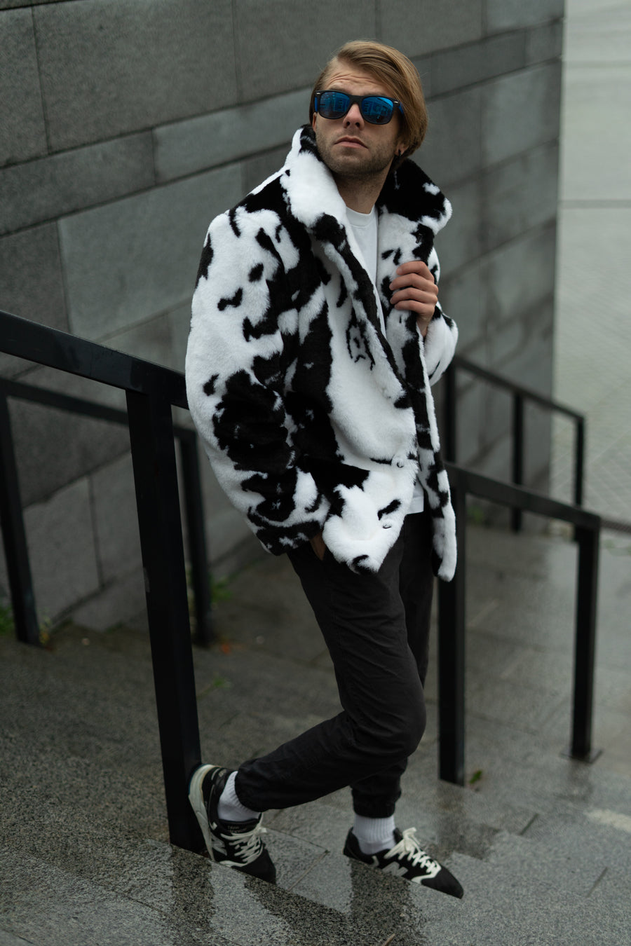 Cow print collared jacket