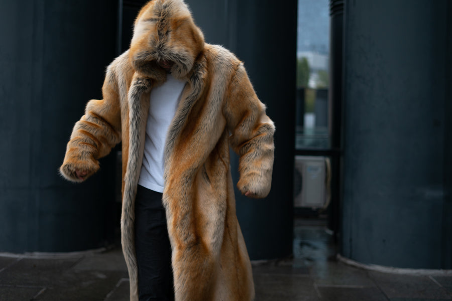 Men hooded faux fox coat