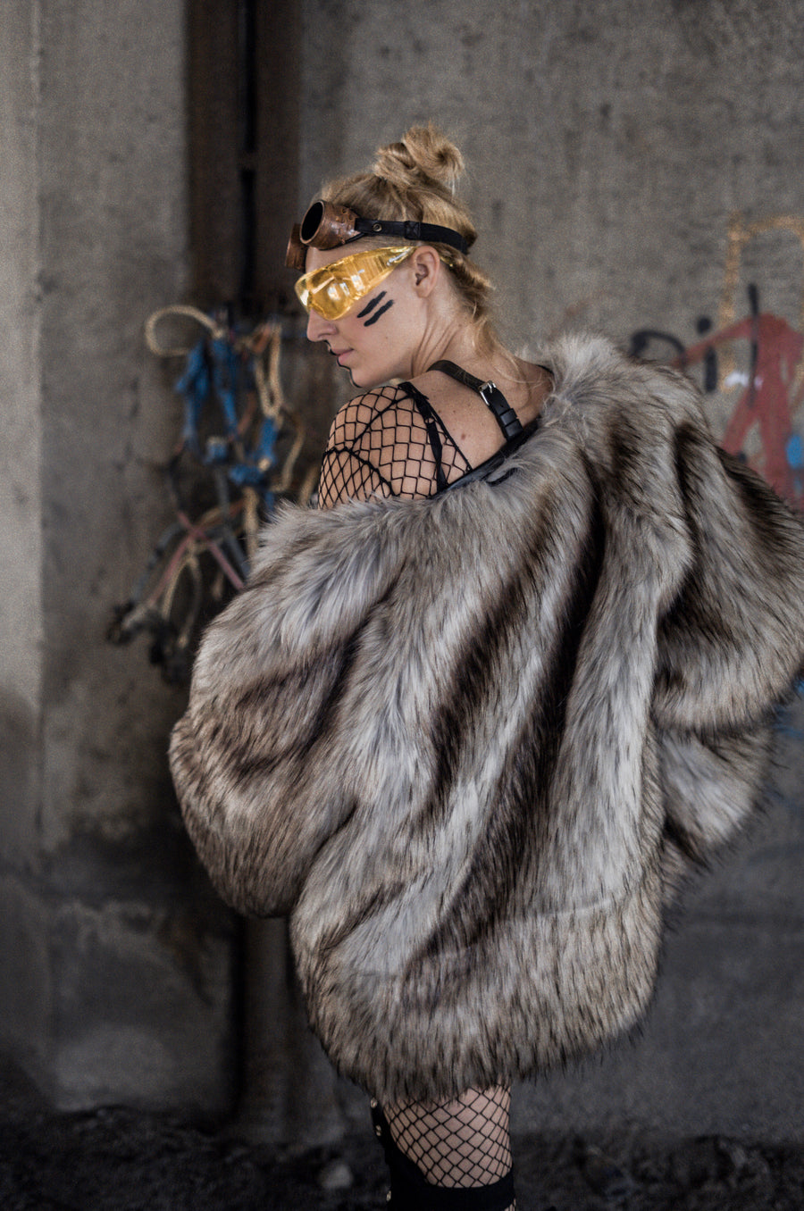 Steampunk faux fur jacket - LOOKHUNTER