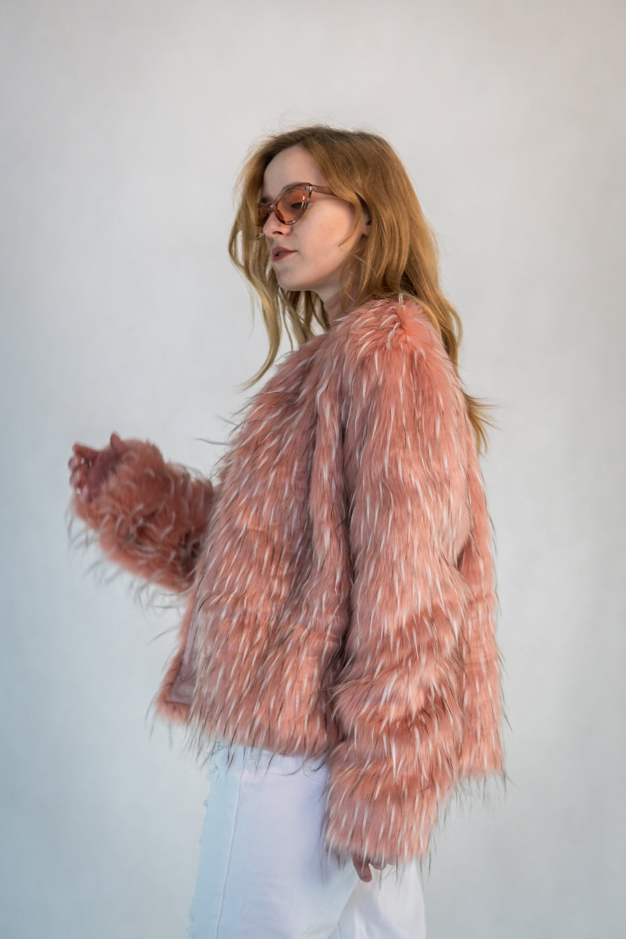 Pink Faux Ermine Fur Jacket - LOOKHUNTER