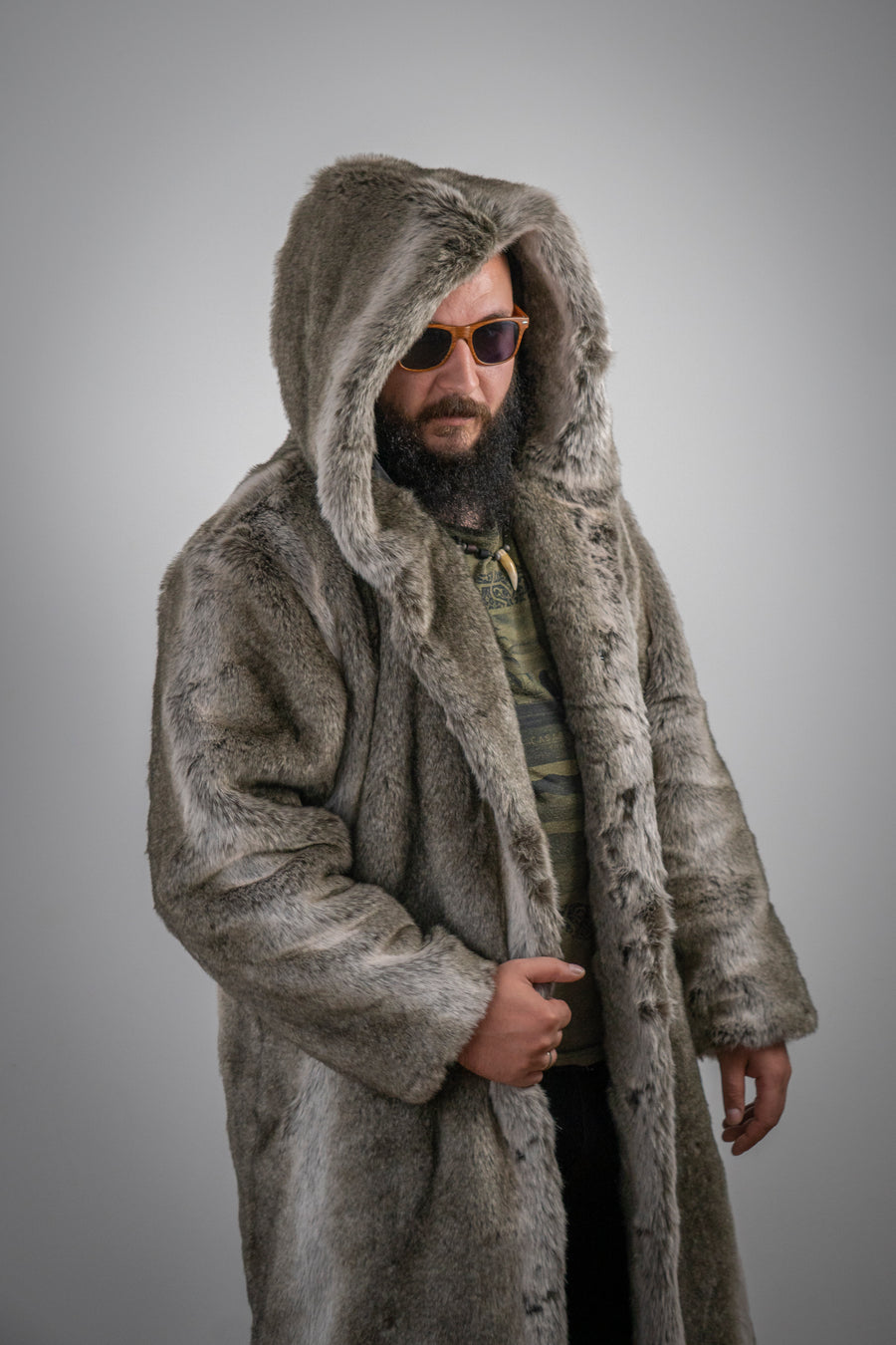 Men hooded faux fox coat - LOOKHUNTER