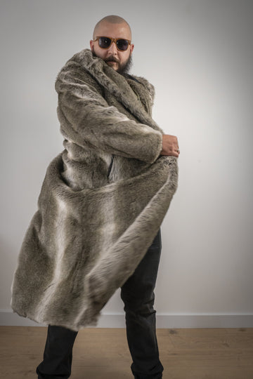Gray faux wolf maxi coat with hood - LOOKHUNTER