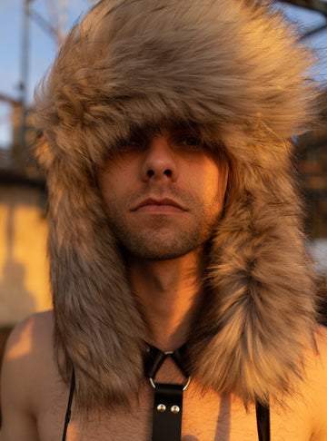 Faux coyote fur hat