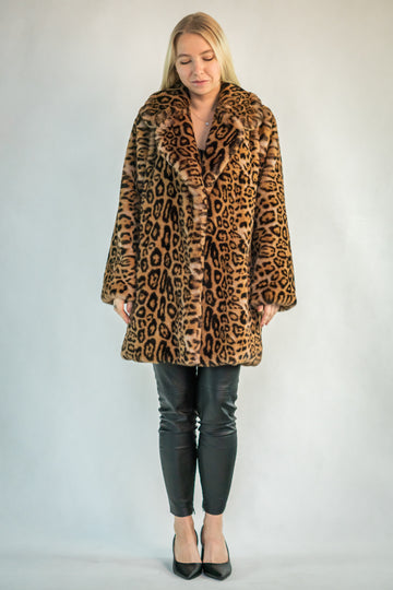 Leopard Print Faux Fur Coat - LOOKHUNTER
