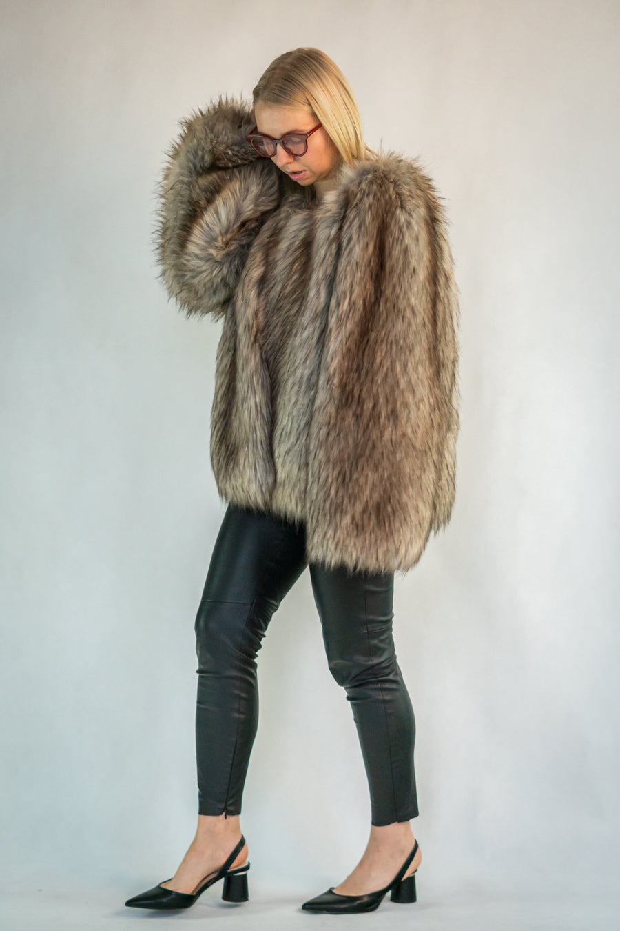 Luxury faux coyote fur coat - LOOKHUNTER