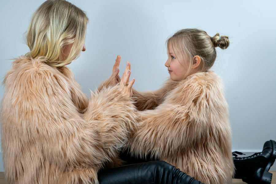 Girl nude faux fur coat - LOOKHUNTER