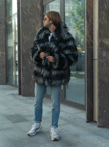 Stripe grey faux fur jacket with collar
