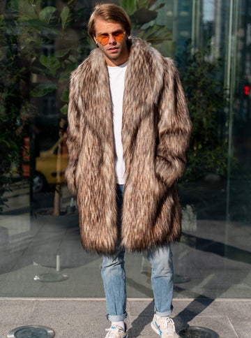 Coyote faux fur coat with shawl collar