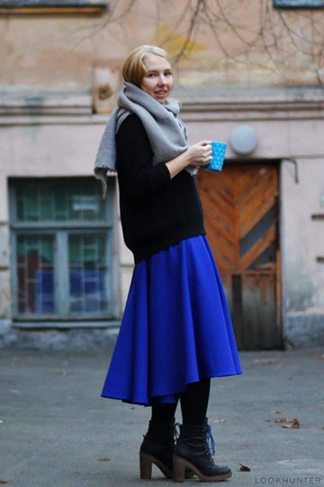 Electric Blue Asymmetrical Midi Skirt - LOOKHUNTER