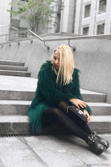 Emerald Shaggy Faux Llama Fur Coat - LOOKHUNTER