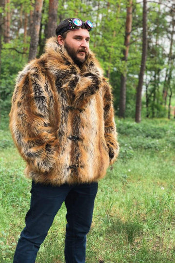 Short men collared faux fox jacket - LOOKHUNTER