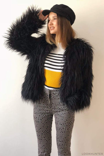 Cropped black faux fur jacket - LOOKHUNTER