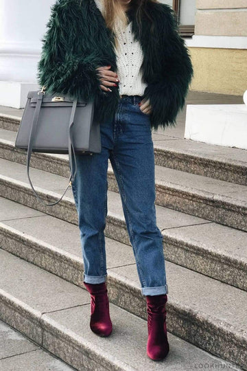 Emerald Faux Llama Fur Crop Jacket - LOOKHUNTER