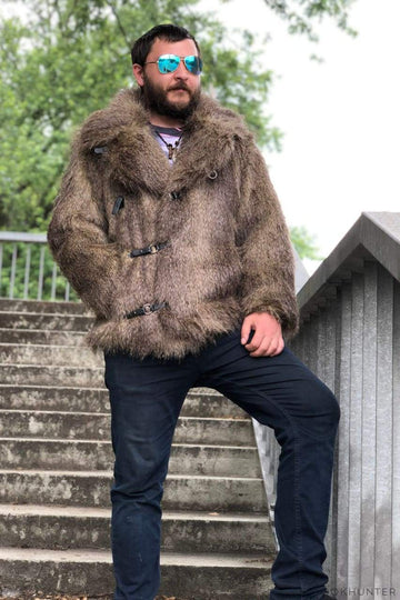 Men Faux Jackal Fur Jacket with Collar - LOOKHUNTER