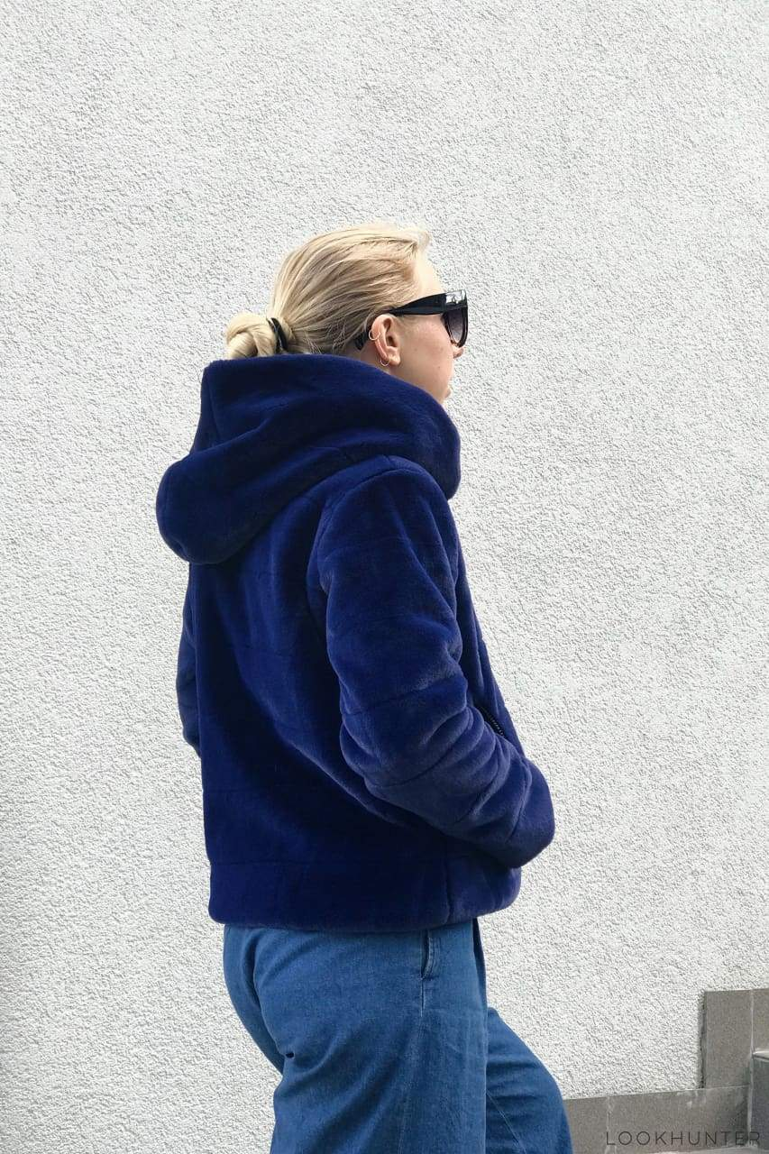 Blue Hooded Faux Rabbit Fur Crop Jacket - LOOKHUNTER