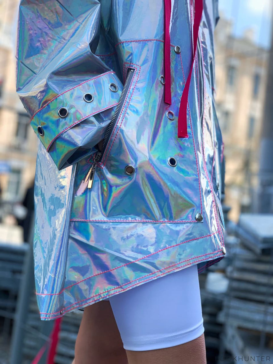 Festival holographic raincoat - LOOKHUNTER