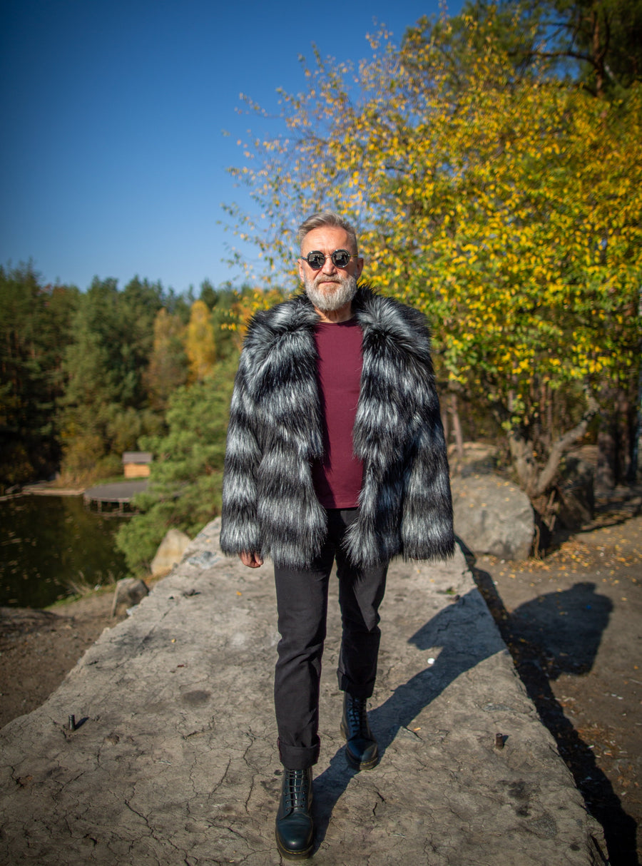 Mens grey faux fur jacket with big collar