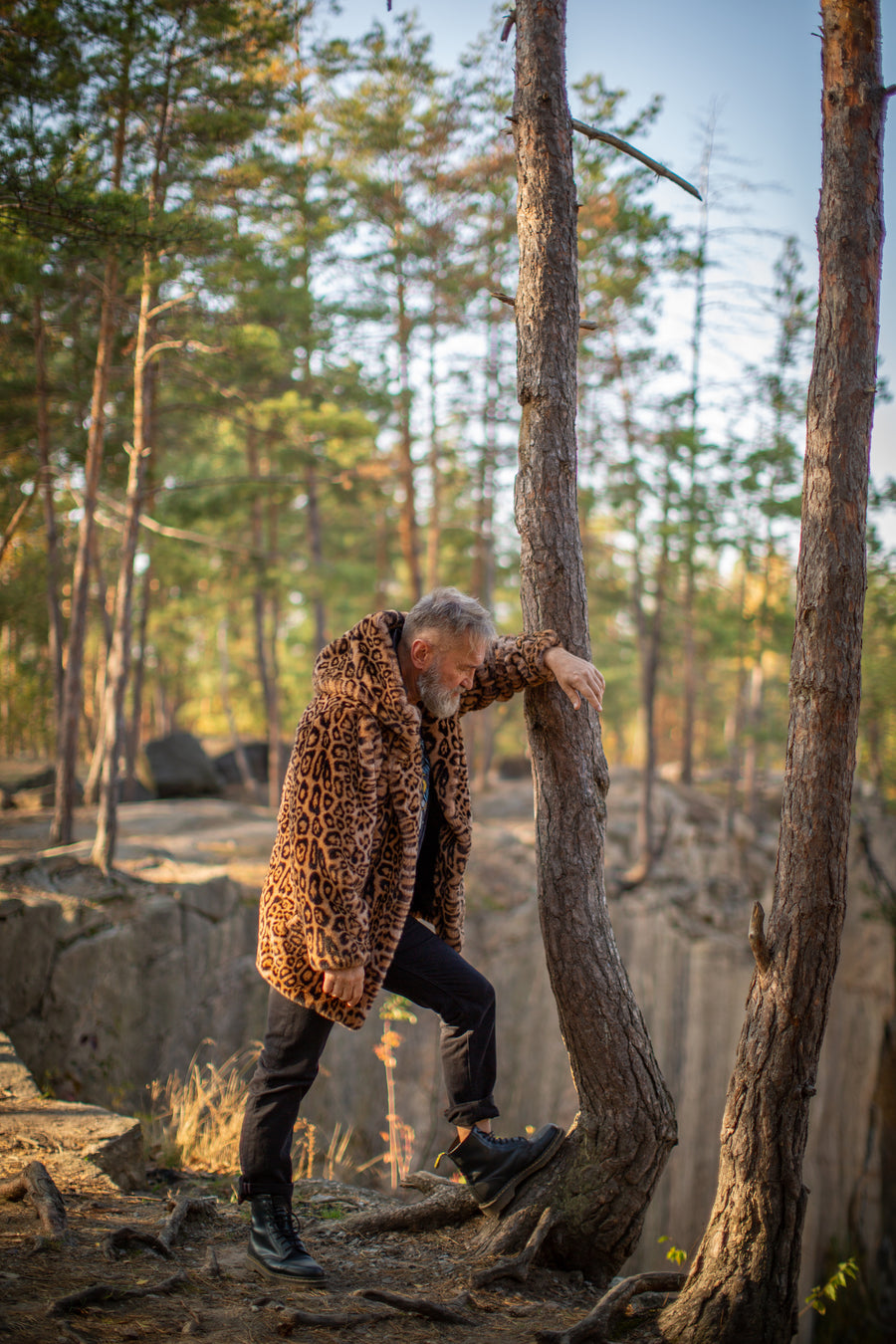 Men's leopard faux fur jacket - LOOKHUNTER