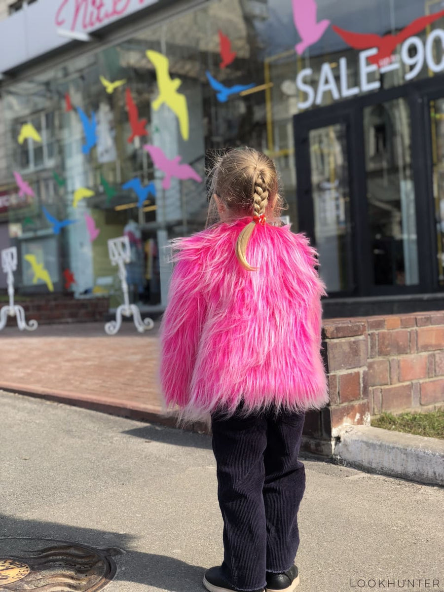 Kids pink faux fur jacket - LOOKHUNTER
