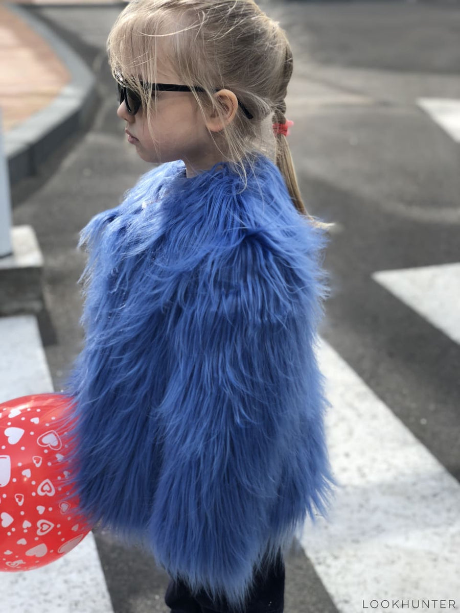 Blue fluffy faux fur jacket - LOOKHUNTER
