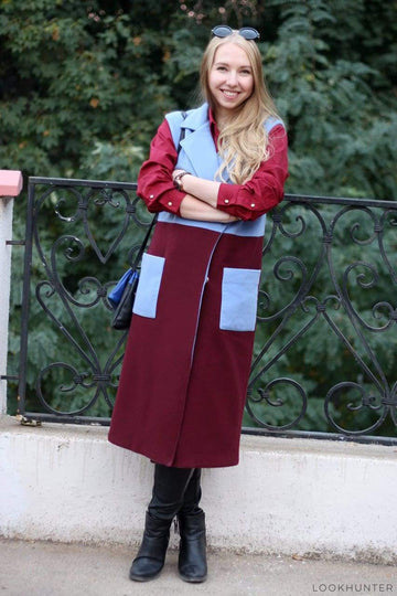 Light Blue and Burgundy Marsala Vest Coat - LOOKHUNTER