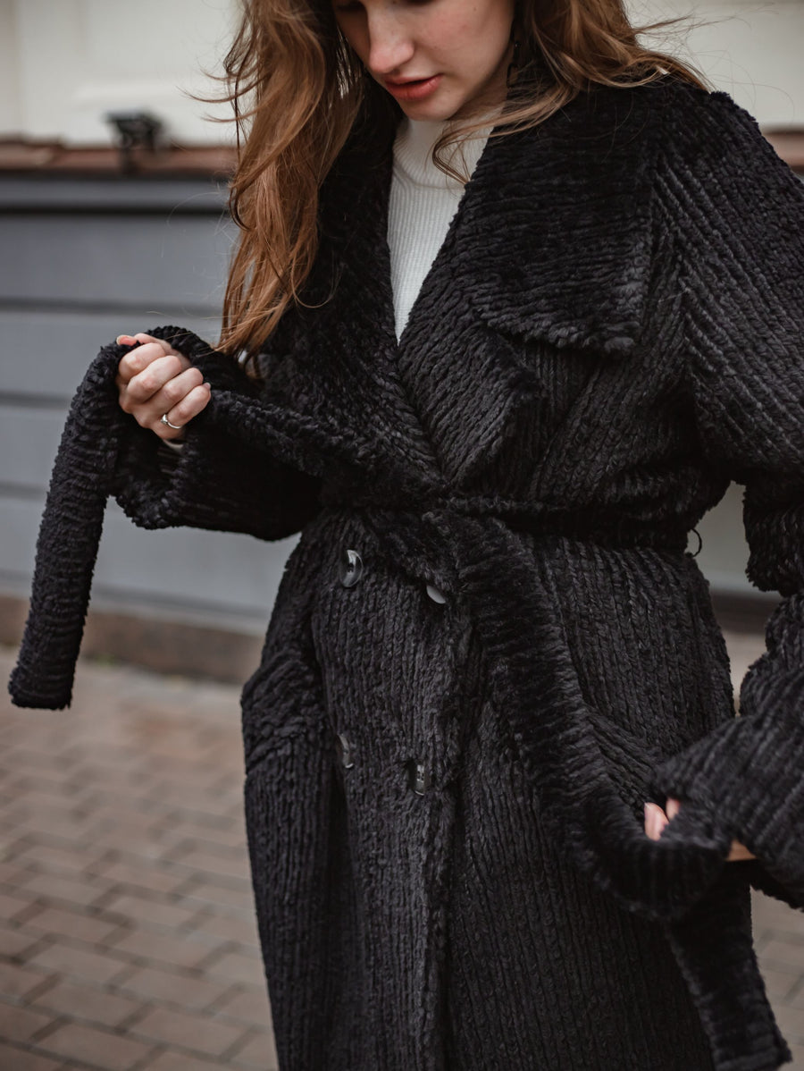 Long maxi black coat