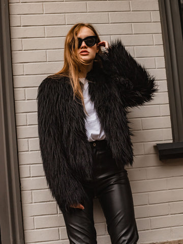 Cropped black faux fur jacket