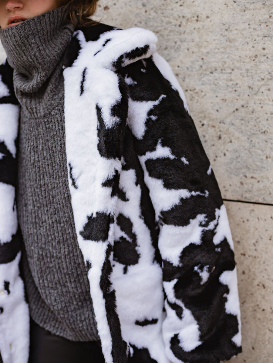 Cow print faux fur coat