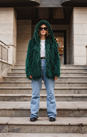 Hooded emerald jacket