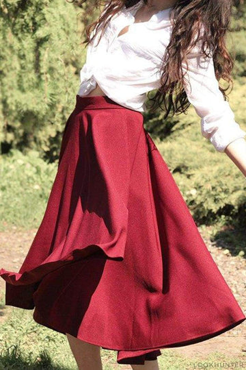 Marsala Asymmetrical Midi Skirt - LOOKHUNTER
