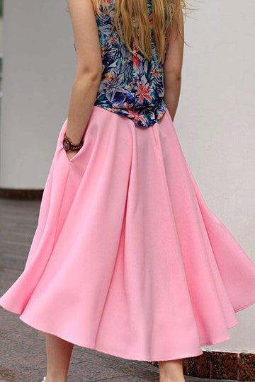 Pink Asymmetrical Midi Skirt - LOOKHUNTER