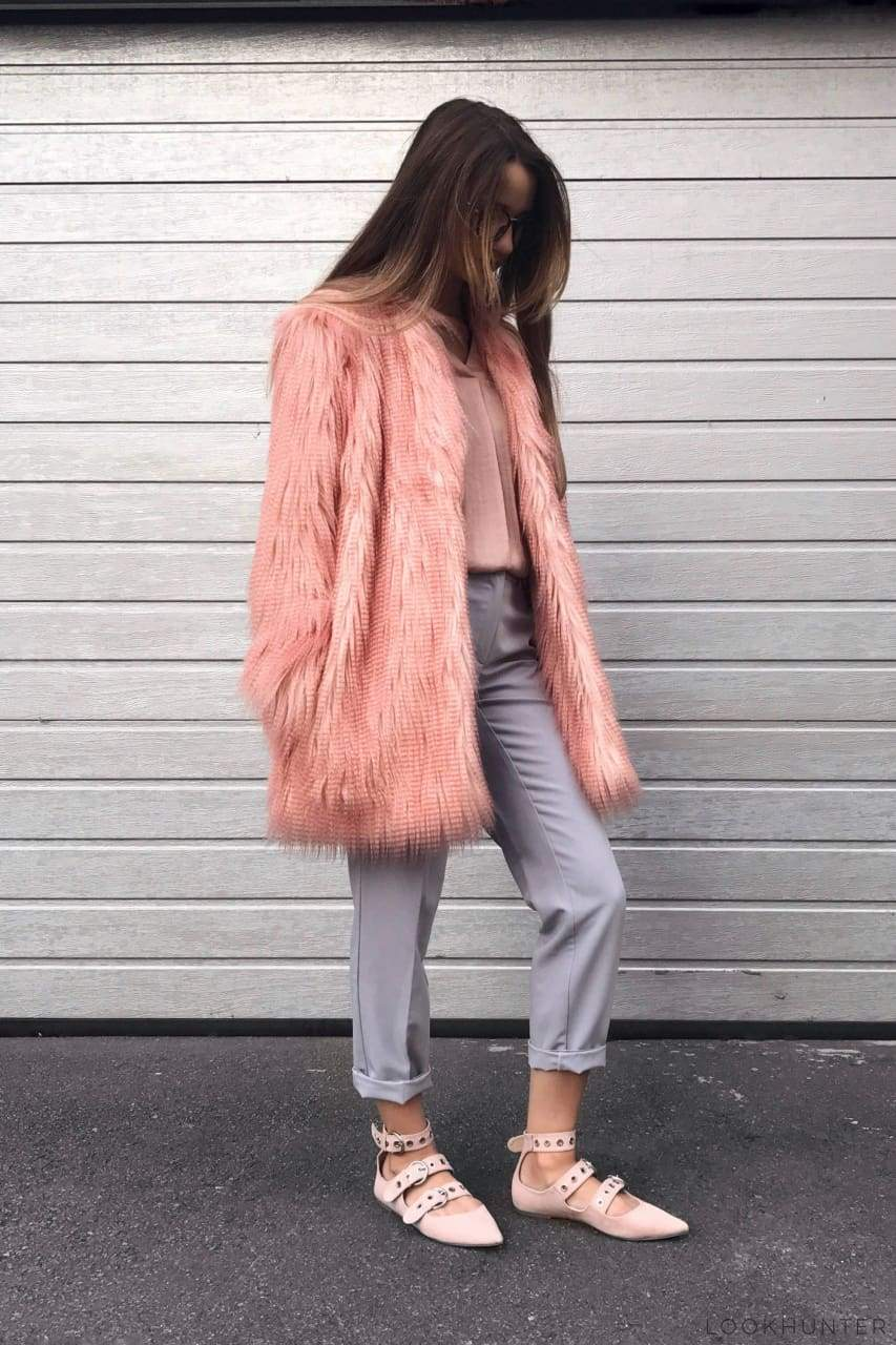 Pink Shaggy Faux Fur jacket - LOOKHUNTER