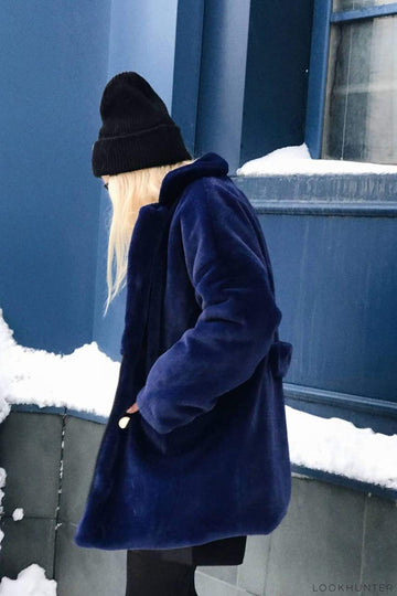 Navy Faux Rabbit Fur Coat - LOOKHUNTER