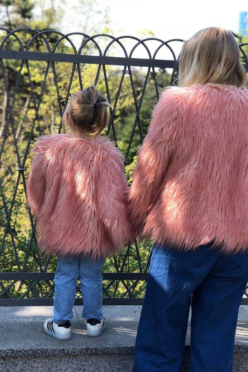 Peach pink Girls Faux Llama Fur Coat - LOOKHUNTER