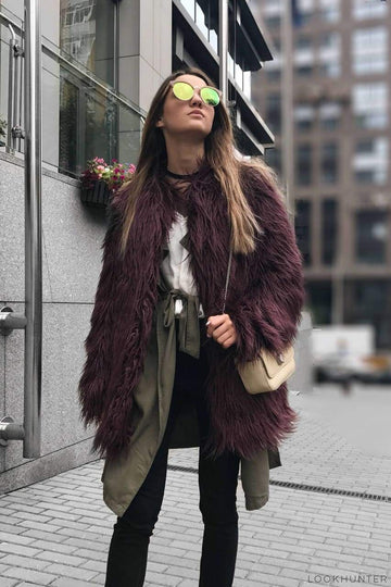 Plum Shaggy Faux Fur Coat - LOOKHUNTER