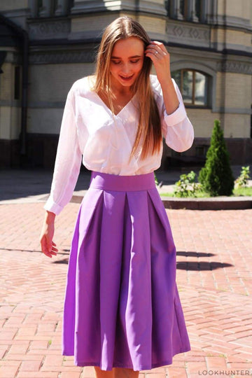 Lavender Pleated Midi Skirt - LOOKHUNTER