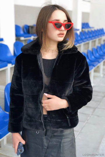 Black Quilted Plush Crop Jacket - LOOKHUNTER