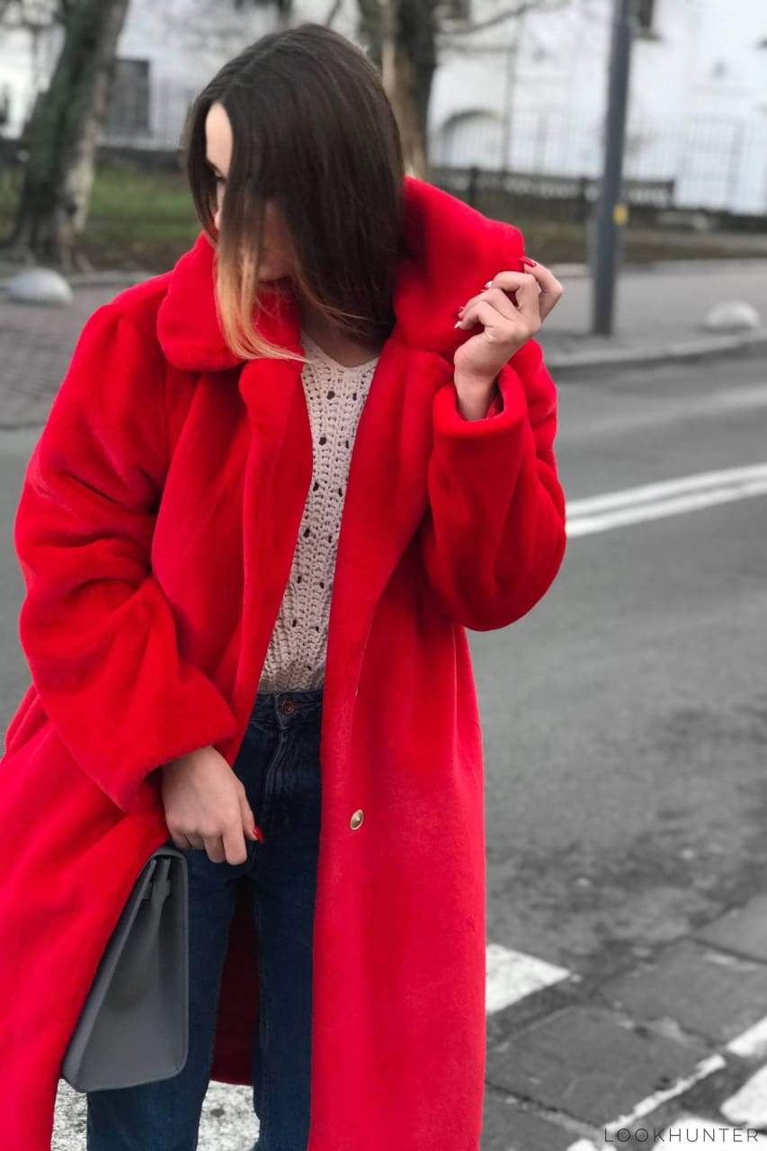 Red Faux Rabbit Fur Lapel Coat - LOOKHUNTER