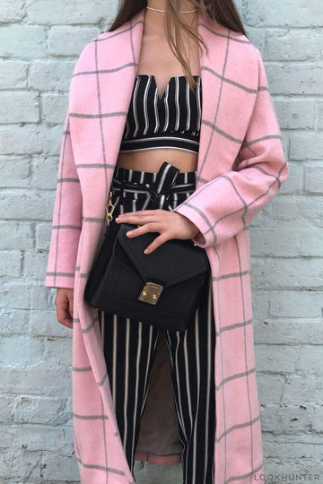 Pink Plaid Faux Fur Robe Coat - LOOKHUNTER