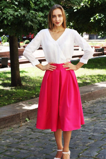Neon Pink Pleated Midi Skirt - LOOKHUNTER