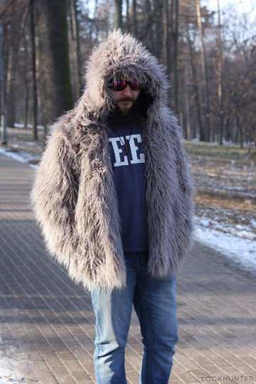 Shaggy hooded faux fur jacket - LOOKHUNTER
