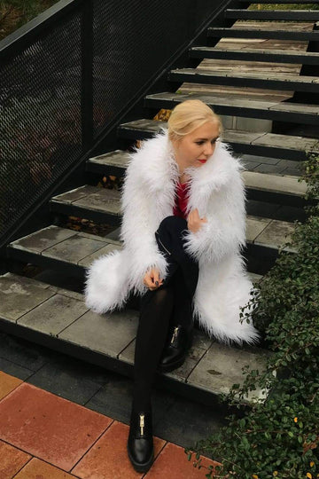 White Faux Llama Fur Spread Collar Coat - LOOKHUNTER