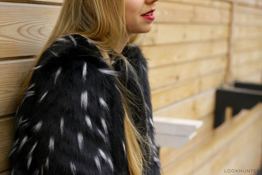 Black and White Faux Fur Coat - LOOKHUNTER